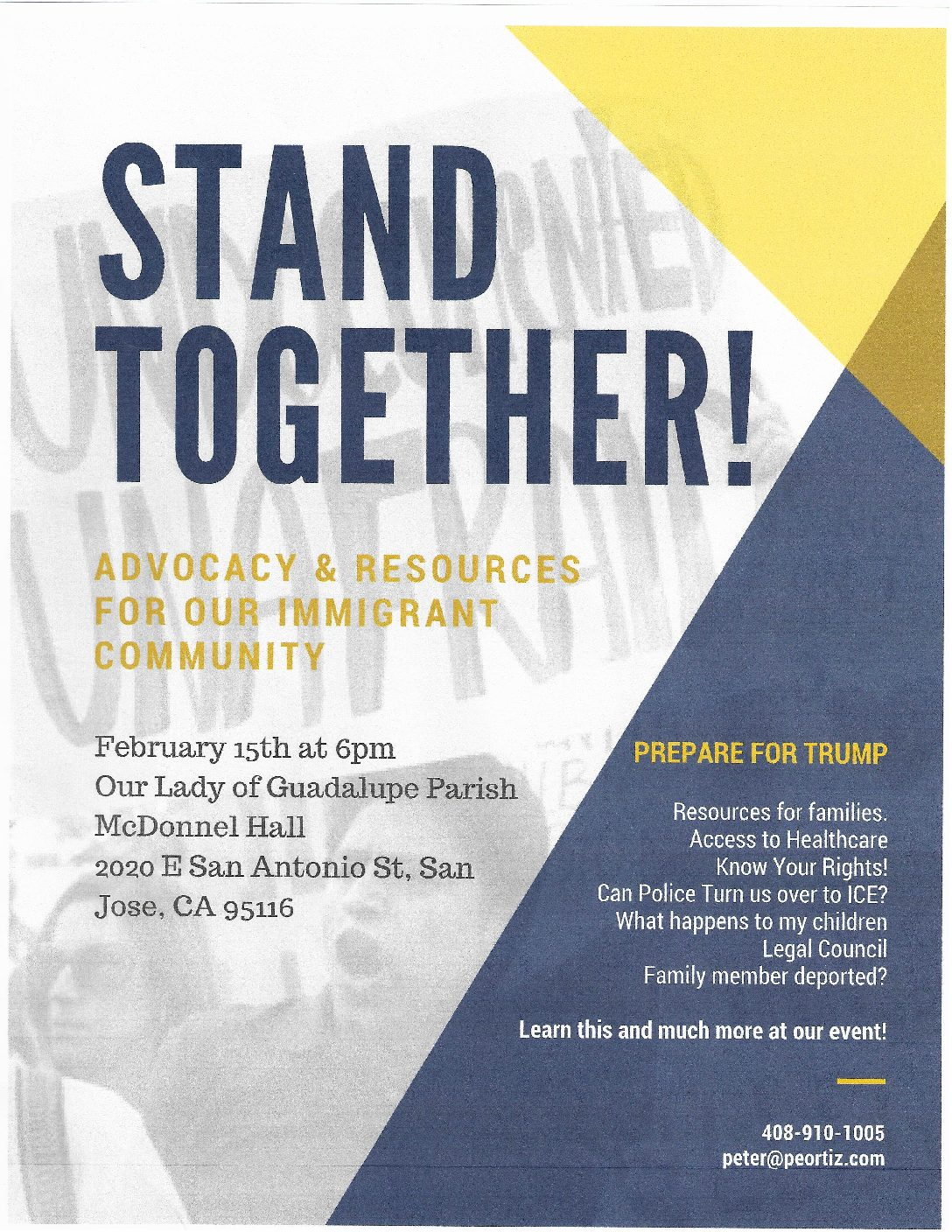 """Stand Together """"Know Your Rights"""" Resources for the Immigrant Community February 15th at 6:00 pm."""