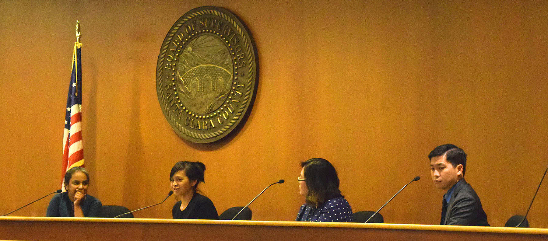 Discussion Panel at the Screening for Halmoni and Dream Riders. From Left to Right - Priya Murthy, SIREN. Charisse Domingo, Silicon Valley De-Bug. Anna Oh, Producer and Director of Halmoni. Theodore Ko, Asian Law Alliance